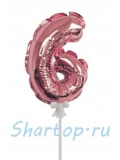 Цифра 6 (топпер) для торта, розовое золото, на палочке, 18 см.