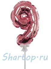 Цифра 9 (топпер) для торта, розовое золото, на палочке, 18 см.