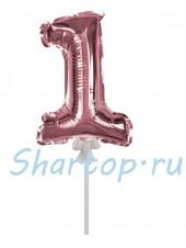 Цифра 1 (топпер) для торта, розовое золото, на палочке, 18 см.