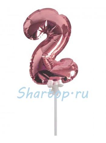 Цифра 2 (топпер) для торта, розовое золото, на палочке, 18 см.
