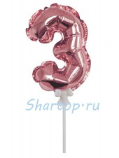 Цифра 3 (топпер) для торта, розовое золото, на палочке, 18 см.