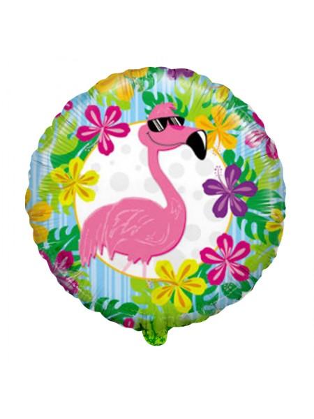 Фольгированный шар Фламинго в очках 46 см