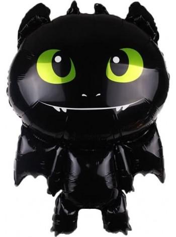 """Фольгированный шар с гелием """"Черный дракончик"""" 87 см."""