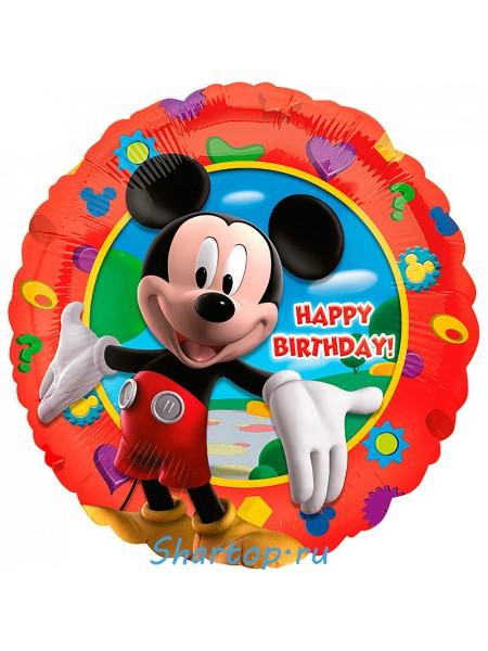 """Фольгированная шар с гелием """"Микки Маус Happy Birtday"""" 46 см."""