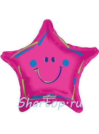 Фольгированная звезда смайл Розовая 46 см.