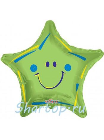 Фольгированная звезда смайл Зеленая 46 см.