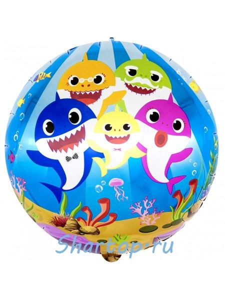 """Фольгированный шар с гелием """"Акулья Семейка"""" 46 см."""