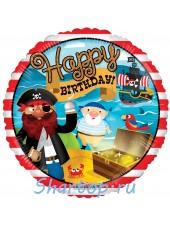 Фольгированный шар Пираты Happy Birthday, Сундук с Сокровищами