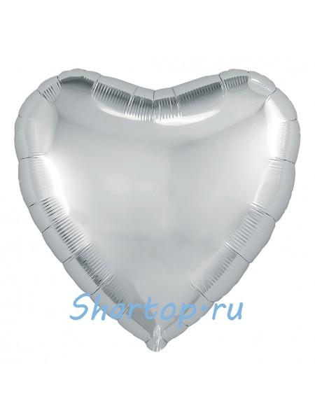 """Фольгированный шар с гелием """"Сердце Серебро"""" 48 см."""