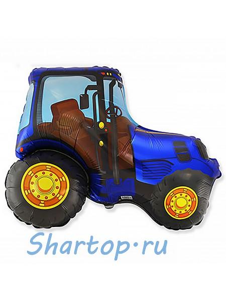 Фольгированный шар с гелием Трактор, Синий  95 см