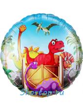 """Фольгированный шар """"Динозаврики""""  46 см."""