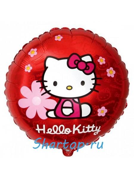 """Фольгированный шар """"Hello Kitty в цветочках"""" 46 см"""