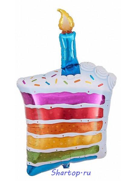 """Фольгированный шар с гелием """"Пирожное со свечкой"""" 100 см."""