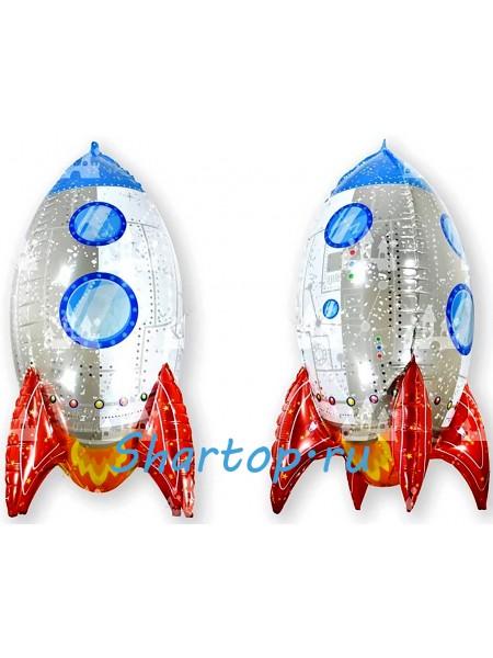 """Фольгированный шар с гелием """"Ракета 3D"""" 81 см."""