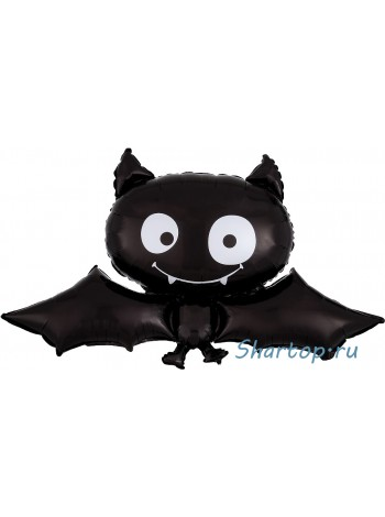 Фольгированная шар летучая мышь , черная 86 см.