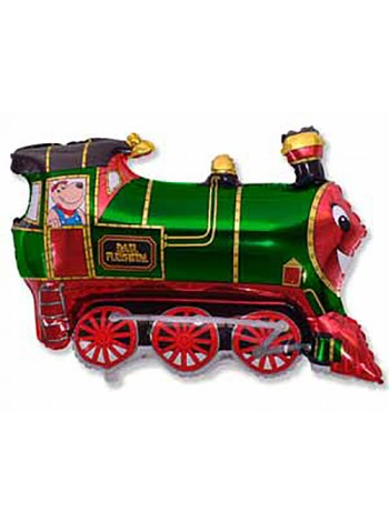 Фольгированный шар с гелием Поезд, Зеленый  85 см