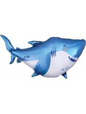 """Фольгированный шар с гелием """"Акула Голубая"""" 97 см."""