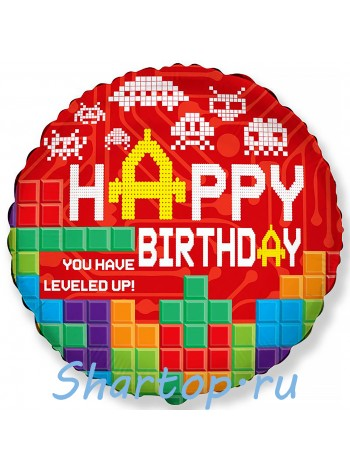"""Фольгированный шар с гелием """"Майнкрафт, happy birthday"""" 46 см."""