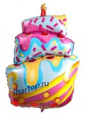 """Фольгированный шар с гелием """"Торт разноцветный со свечкой"""" 89 см."""