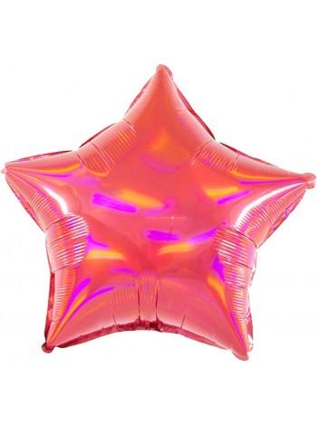Фольгированный шар звезда Перламутровый блеск, Рубин 48 см.