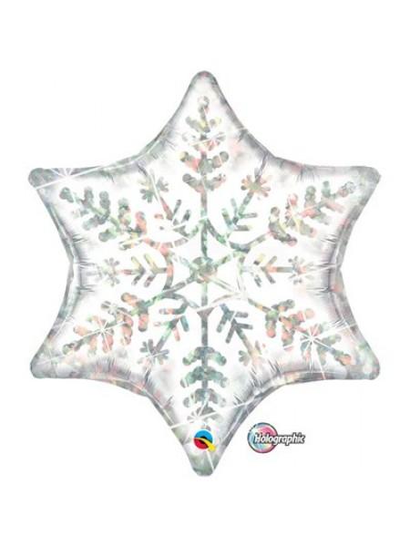 """Фольгированная звезда """"Снежинка голография"""" 56 см"""