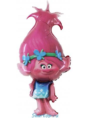 """Фольгированный шар с гелием """"Тролли, Розочка""""91 см."""