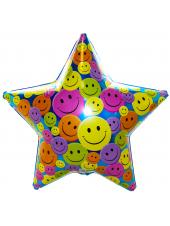"""Фольгированный шар, звезда, с гелием """"Смайлы"""" 79 см."""