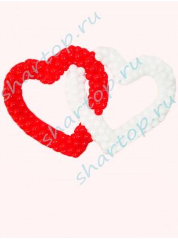 """Сердце на каркасе двойное """"Красно-белое"""""""