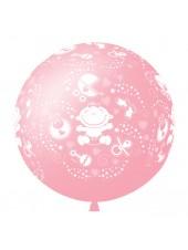 """Шар большой """"С Днем Рождения Малышка"""" 91 см розовый"""