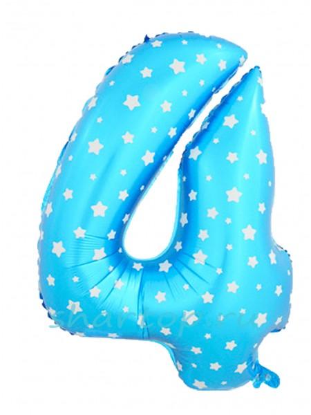 """Фольгированный шар с гелием """"Цифра 4 Голубая"""" 102 см"""