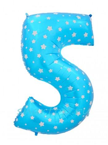 """Фольгированный шар с гелием """"Цифра 5 Голубая"""" 102 см"""
