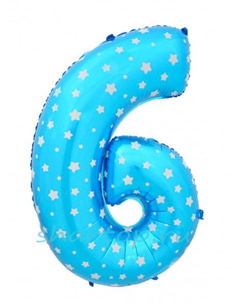 """Фольгированный шар с гелием """"Цифра 6 Голубая"""" 102 см"""