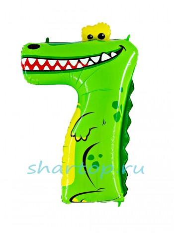 """Фольгированный шар с гелием """"Цифра 7 Крокодил"""" 102 см"""