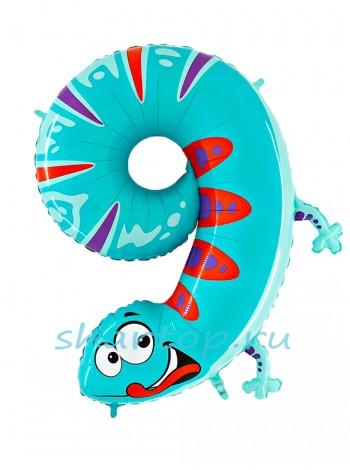 """Фольгированный шар с гелием """"Цифра 9 Ящерица"""" 102 см"""