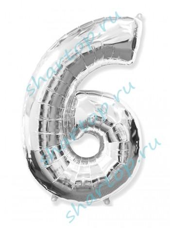 """Фольгированный шар с гелием """"Цифра 6 Серебро"""" 102 см"""