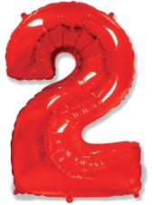 """Фольгированный шар с гелием """"Цифра 2 Красная"""" 102 см"""