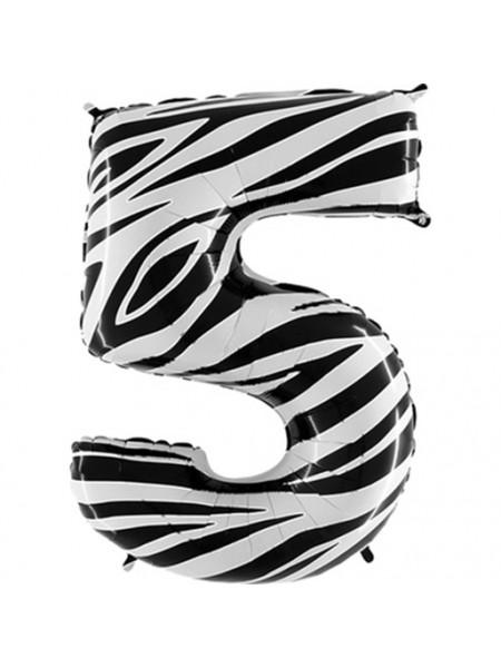 """Фольгированный шар с гелием """"Цифра 5 Zebra"""" 102 см"""