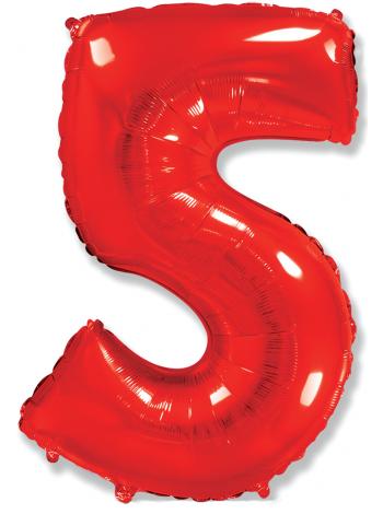 """Фольгированный шар с гелием """"Цифра 5 Красная"""" 102 см"""
