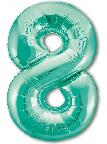 """Фольгированный шар с гелием """"Цифра 8 Тиффани"""" 102 см"""