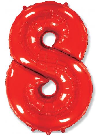"""Фольгированный шар с гелием """"Цифра 8 Красная"""" 102 см"""