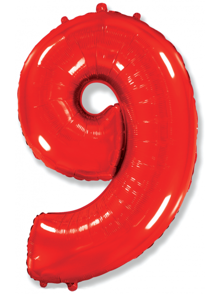 """Фольгированный шар с гелием """"Цифра 9 Красная"""" 102 см"""
