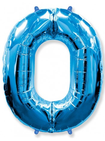 """Фольгированный шар с гелием """"Цифра 0 Синяя"""" 102 см"""