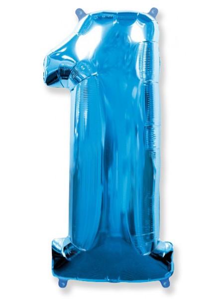 """Фольгированный шар с гелием """"Цифра 1 Синяя"""" 102 см"""