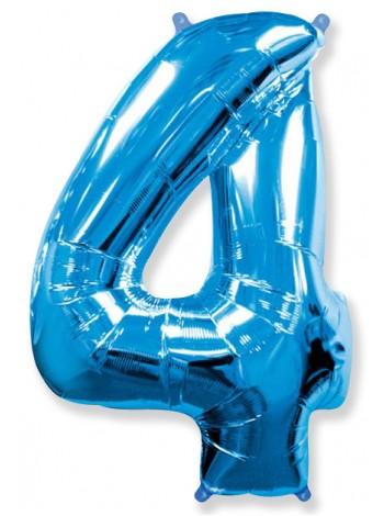 """Фольгированный шар с гелием """"Цифра 4 Синяя"""" 102 см"""