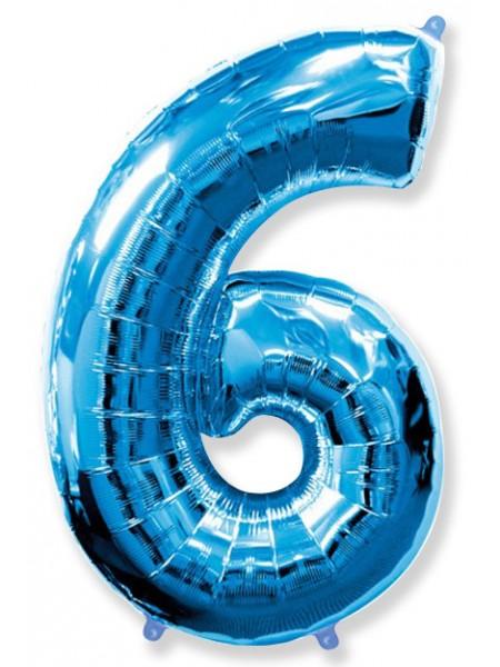 """Фольгированный шар с гелием """"Цифра 6 Синяя"""" 102 см"""