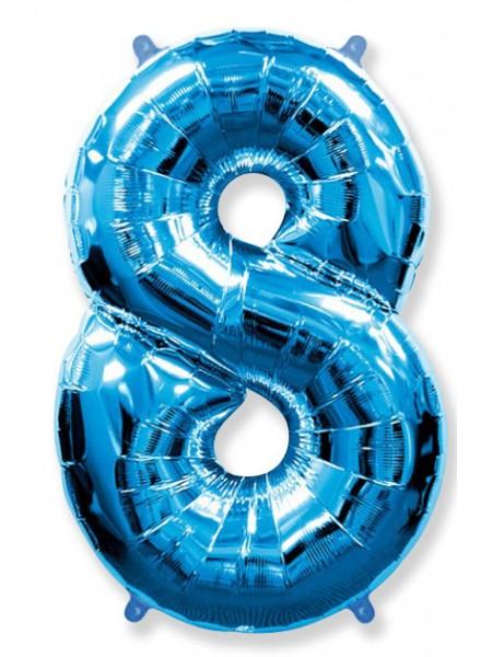 """Фольгированный шар с гелием """"Цифра 8 Синяя"""" 102 см"""
