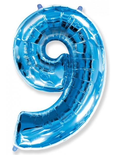 """Фольгированный шар с гелием """"Цифра 9 Синяя"""" 102 см"""