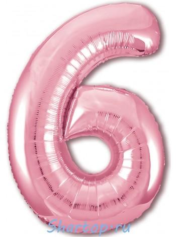 """Фольгированный шар с гелием """"Цифра 6, Розовый фламинго"""" 102 см"""