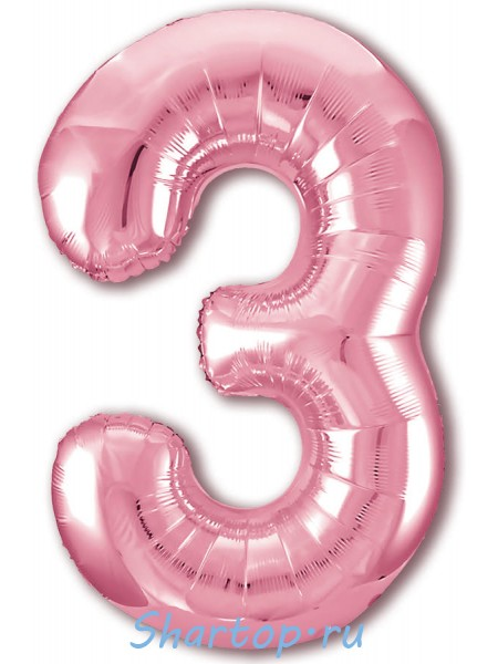 """Фольгированный шар с гелием """"Цифра 3 Розовый фламинго"""" 102 см"""