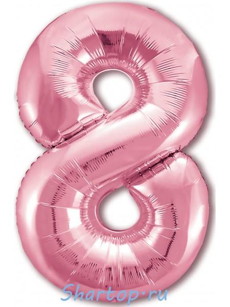 """Фольгированный шар с гелием """"Цифра 8 Розовая фламинго"""" 102 см"""